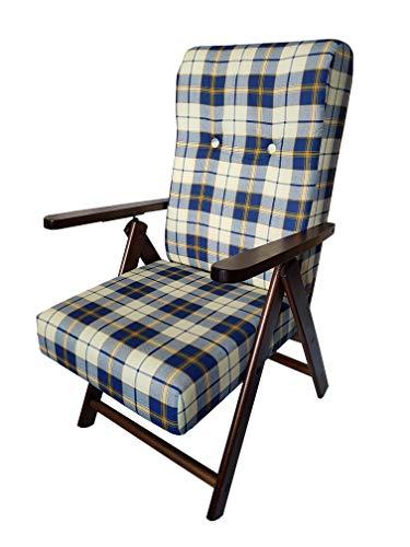 Totò piccinni poltrona sedia sdraio molisana lusso in legno reclinabile 4 posizioni (blu scacchi)