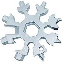 Multitool Edelstahl Fahrrad Multifunktionswerkzeug, 18-in-1 Schneeflocke Multi-Tool Schlüsselanhänger Flaschenöffner Ringschlüssel Sechskantschlüssel, für militärische Enthusiasten und Outdoor EDC We
