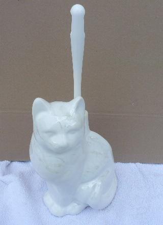 Toilettenbürstengarnitur aus Keramik in Form einer Katze weiß perlmutt lüste Dekor hergestellt in Deutschland