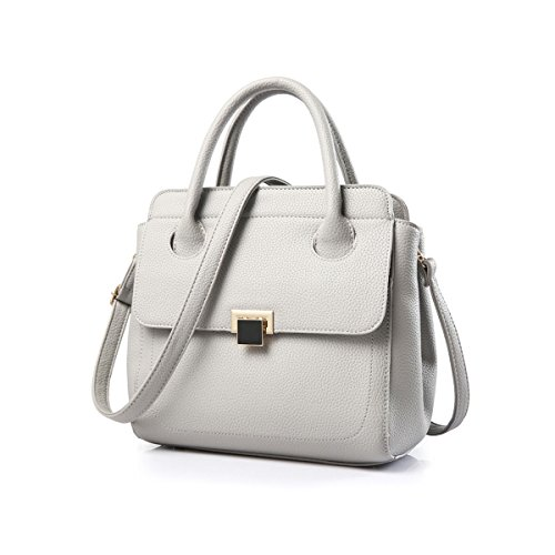 Emotionlin Delle Donne Alla Moda Del Progettista Del Cuoio Boutique Faux Grande Spalla Del Tasto Lucchetto Bag (Black) White