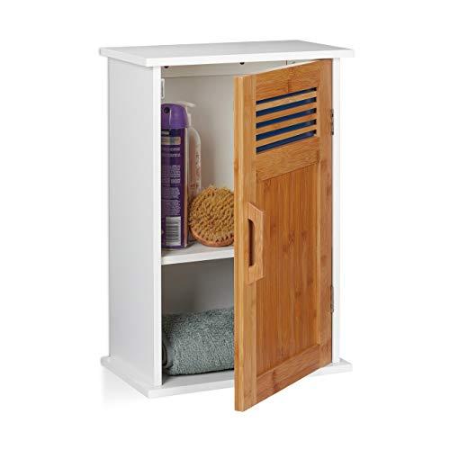 Relaxdays Badhängeschrank, WC, hängend, MDF, Bambus, eintürig, 2 Fächer, Badezimmerschrank 51,5 x 35 x 20 cm, weiß-Natur, Standard -