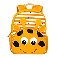 Wenosda Waterproof Kids Backpack Toddler Children School Bag Nursery Rucksack Neoprene Animal Cartoon Daypack for Kindergarten/Preschool (Giraffe)