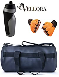 VELLORA Soft Leather Duffel Gym Bag (Black) With Penguin Sport Sipper, Gym Sipper Water Bottle Color Black Grey... - B07F2NXK9Z