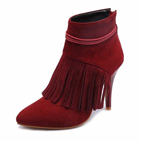 TAOFFEN Damen Mode-Event Fransen Schuhen mit hohen Absätzen Quasten Mit Reißverschluss Martin Stiefel Rot