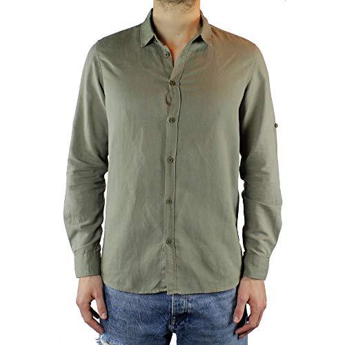 Ciabalù camicia uomo lino slim fit verde manica lunga collo francese estiva serafino sartoriale casual spiaggia s m l xl xxl (l)