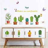 Garten Topfpflanzen Kaktus Aloe Wandaufkleber Steuern Dekor Wohnzimmer Blume Schmetterling Bonsai Wandtattoos Diy Wandbild Kunst Poster