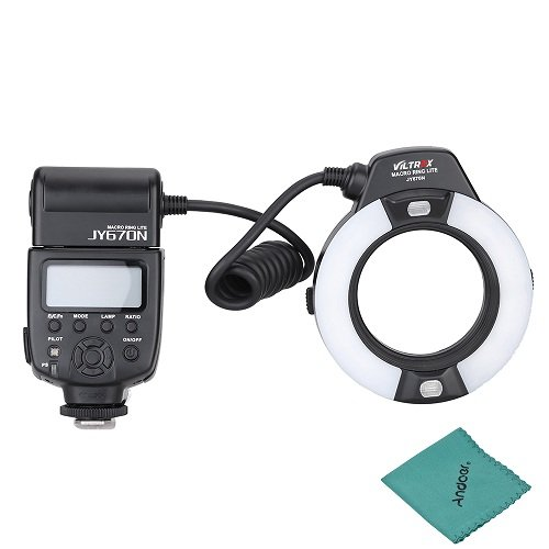Viltrox JY-670N LED Ring Flash LED Ringleuchte für Nikon D750 D810 D7200 D610 D7000 D5500 D5200 D5300 D3300 D3200 DSLR Kamera mit Adapter Ring (49mm / 52mm / 55mm / 58mm / 62mm / 67mm).