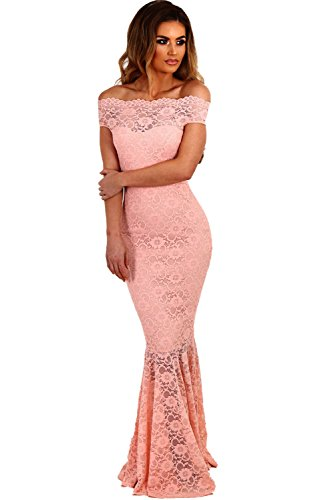 COSIVIA Damen Elegante Spitze Fishtail Maxi Kleid Hochzeitskleid Abendkleid Rosa