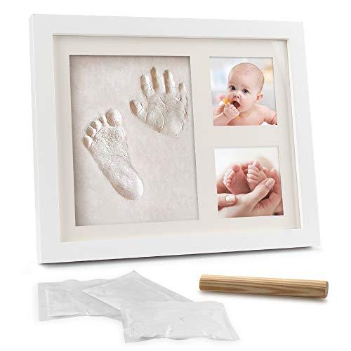 Samione Baby Handabdruck und Fußabdruck, Neugeborene Hand und Fuß Gipsabdruck Set [Schadstofffreiem Lehm], kostbarem Bilderrahmen aus Holz und Acrylglas -Das ideale Babyparty Geschenk