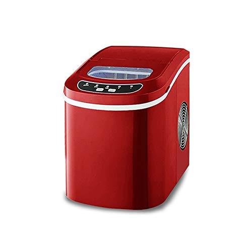 Xyanzi Eiswürfelmaschine Tragbare Eismaschine, Heim-Desktop-Mini-Eisherstellungsmaschine for 33 Pfund EIS Pro 24 Stunden - Eiswürfel In 8 Minuten Fertig - Rot