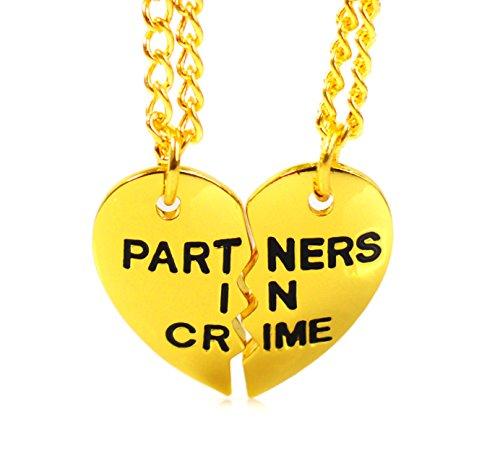 Partner di reato è possibile incidere oro heart_di mezzo per migliori amici, Puzzle _a forma di cuore con pendente
