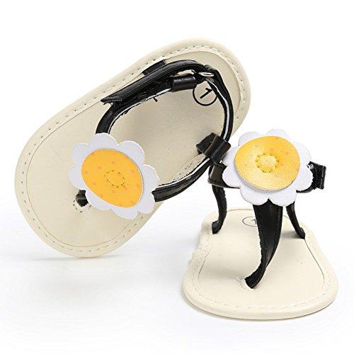 MiyaSudy Neugeborenes Baby Mädchen Schuhe Sonnenblume Flip Flops Weiche Alleinige Sommer Sandalen Schwarz