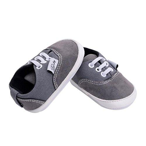 Unisex Baby Sneakers, OverDose Neugeborene Säuglingsbaby Mädchen-Jungen-Krippe schuhe Weiche alleinige Anti Rutsch Turnschuh Segeltuch Schuhe Grau