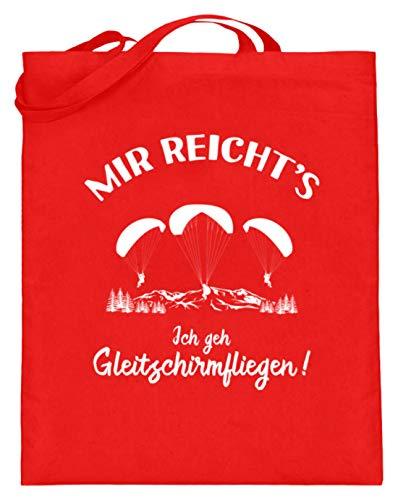 shirt-o-magic Paragliding: Ich geh Gleitschirmfliegen! - Jutebeutel (mit langen Henkeln) -38cm-42cm-Rubinrot
