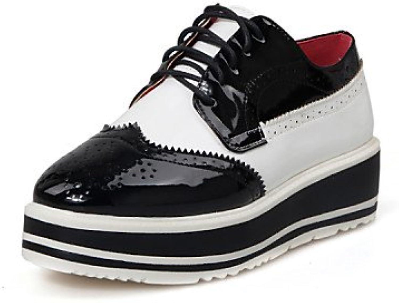 NJX/ hug Zapatos de mujer-Plataforma-Plataforma / Punta Redonda-Mocasines-Exterior / Casual-Cuero Patentado-Negro...