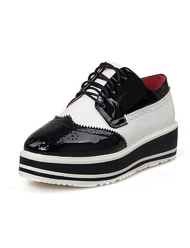 ZQ hug Scarpe Donna-Mocassini-Tempo libero / Casual-Plateau / Punta arrotondata-Plateau-Vernice-Nero / Rosso , black-us6.5-7 / eu37 / uk4.5-5 / cn37 , black-us6.5-7 / eu37 / uk4.5-5 / cn37 black-us7.5 / eu38 / uk5.5 / cn38