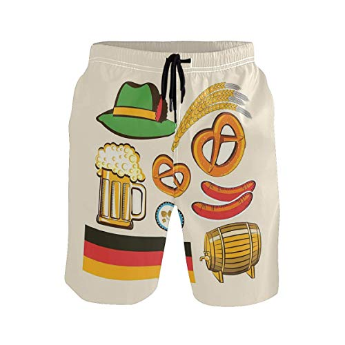 Preisvergleich Produktbild Men's Summer ShortsOktoberfest Symbols Wheat Sausage Beer and Pretzels C, Size:M