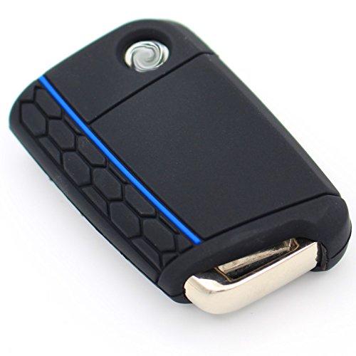 Schlüssel Hülle VB für 3 Tasten Auto Schlüssel Silikon Cover von Finest-Folia (Schwarz Blau)