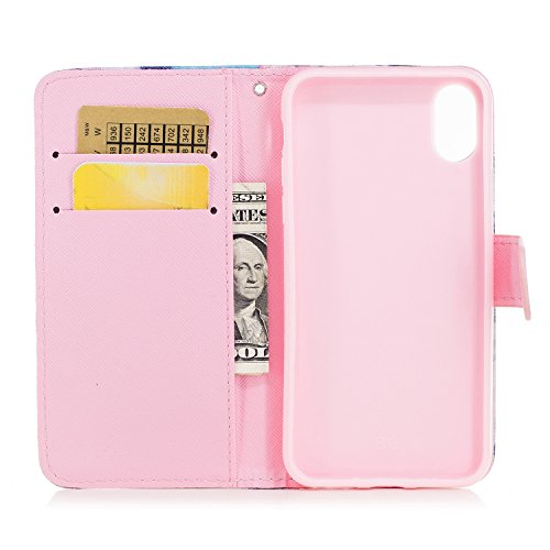 Cover iphone x, Alfort 2 in 1 Custodia Alta qualità Cuoio Flip Stand Case per la Custodia iphone x Ci sono Funzioni di Supporto e Portafoglio ( Volpe ) 5,8 pollici Fumo