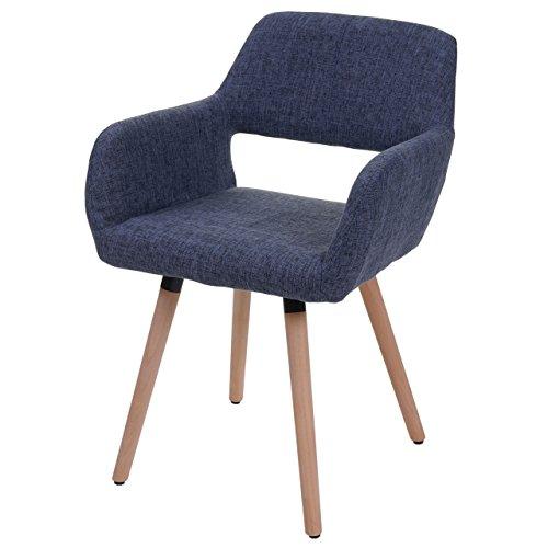 Chaise de salle à manger HWC-A50 II, fauteuil, design rétro des années 50 ~ tissu, bleu gris