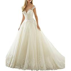 3da14d542d XUYUDITA Scoop cuello de hombro de encaje Vintage A-Line vestidos de novia  de la