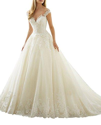 Xuyudita scollo chiffon dalla spalla vintage pizzo a-line abiti da sposa nuziali bianco-42
