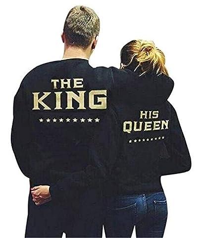 Minetom Couple Sweatshirt Pullover Femme Homme Col Rond Manches Longues Imprimé Lettre De King Queen Tops Pull Blouse Amants Cadeaux, Noir(Queen), EU L
