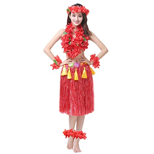 Männer Hula Kostüm Girl - Haobing Mädchen Hawaii Party Fancy Dress Kostüm Set Luau Hula Rock Blume Fußkettchen Stirnband Armband Halskette Girlande (Rot, 8pcs/Set)