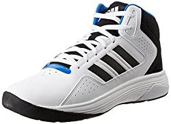 adidas neo Mens Cloudfoam Ilation Mid White, Black and Matte Silver Basketball Shoes - 7 UK