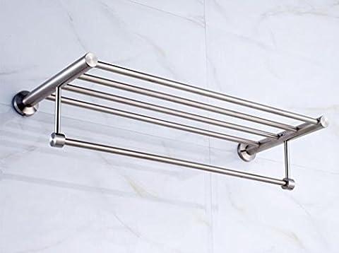 Barre porte-serviettes Porte-serviettes de salle de bain épais en acier inoxydable Pendentif en métal de salle de bain Porte-serviettes Porte-serviettes étagère Porte-serviettes 60* 25* 12cm