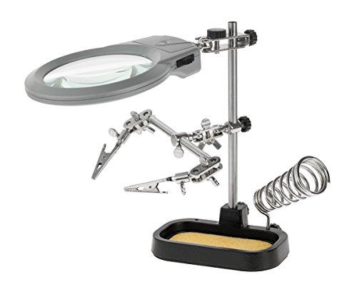 KEMOT NAR0150 Lötständer-Dritte Hand mit Zwei Klemmen, Lötkolbenhalter und LED-Lupe, 0.4 W, 4.5...