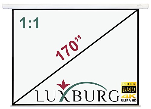 """Luxburg Beamer Leinwand 300x300 cm (Diagonale ca. 170\"""" inch Zoll / 432 cm) Full HD 3D Rollo Leinwand zur Deckenmontage/Wandmontage, mattweißes Leinwandtuch mit Glasfaser, überabeitetes Modell 2015"""