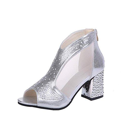 Uomogo® sandali donna con tacco, sandali open toe sexy con zeppa in pizzo da donna, scarpe col tacco alto da donna, sandali donna eleganti (cn:39, argento)
