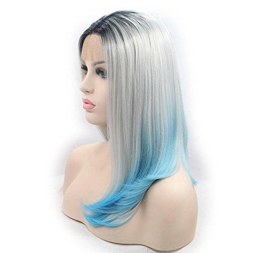 SHKY grau / blau ombre kurze gerade synthetische Spitze vordere Perücken mit dunklen Wurzeln natürliche graue Bob Frisur hitzebeständige Faser , 16 (Uk Anime Kostüme Billig)