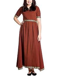 Robe médiévale à manches courtes avec bordure élégant rouge