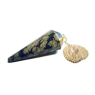 Edelstein Pendel Amethyst Bergkristall Aventurin uvm. (Schneeflocken Obsidian mit großen Flocken)