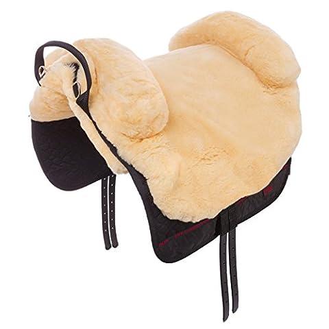 Fellsattel Iberica Plus CHRIST – in Handarbeit gefertigter Baumloser Sattel / Lammfellsattel im spanischen Stil, Wollhöhe 30mm, Größe: Pony, in natur
