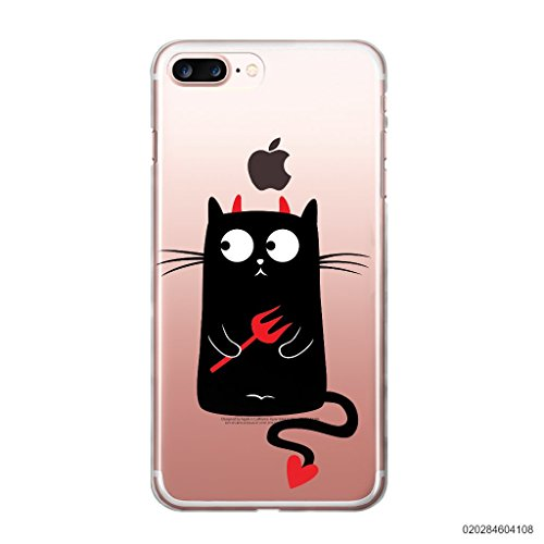 Blitz® CAT Schutz Hülle Transparent TPU Cartoon Fuchs M7 iPhone X Teufel Katze M6