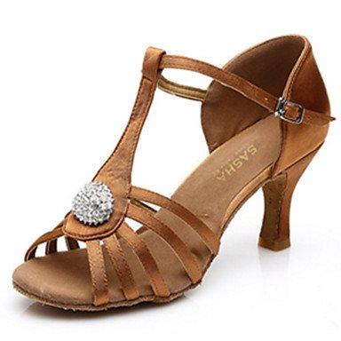 Zapatillas De Baile-personalizables-mujeres-latinoamericanas Baile-tacón Heel-satin-black Brown Black