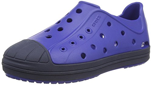 Crocs Bumper Toe Shoe Kids, Unisex-Kinder Low-Top Sneaker, Schwarz (Black/Oyster 02U), 27/28 EU Blau (Cerulean Blue/Navy)