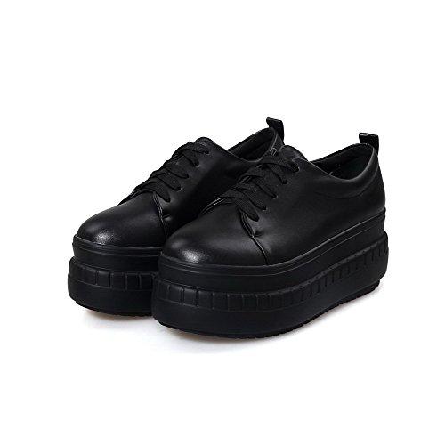 VogueZone009 Femme Fermeture D'Orteil Rond à Talon Correct Lacet Couleurs Mélangées Chaussures Légeres Noir