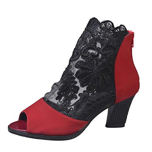 (OYSOHE Frauen Reißverschluss Spitze Partei Ankle Heels Casual Open Toe Mode Einzelne Schuhe)