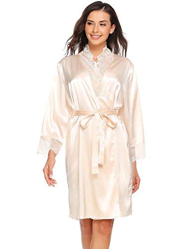 ADOME Women Sexy Kimono Robes Satin Nightdress V-Neck Lace Sleepwear With Belt