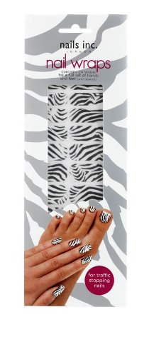 Nails Inc Lot de 24 wraps de Nail Wraps – Zébré Noir et Blanc