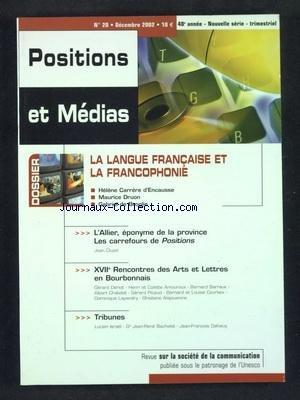 POSITIONS ET MEDIAS [No 20] du 01/12/2002 - LA LAN...