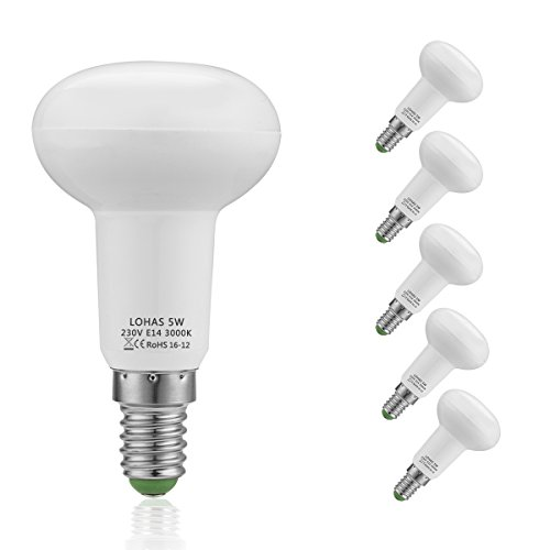 R50 E14 LED, LOHAS LED Reflektor, 5W LED Lampen, Reflektorlampe R50, Ersatzfür40WHalogenlampen, 400LM, 3000K, LEDLampe, LED Birnen, LED Leuchtmittel, Nicht Dimmbar, 120°Strahlwinkel, 5er Pack