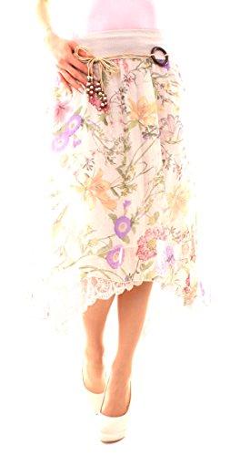 Damen Sommer Boho Vokuhila Chiffon Rock Jupe Midi Knielang A-Linie Asymetrisch Elegant Bunt Floral Geblümt One Size Beige