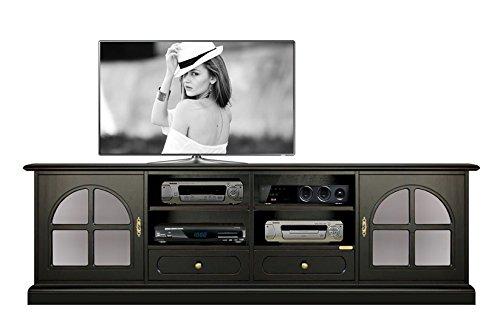 Mobile porta tv / led / plasma / lcd colore nero effetto antico con 2 ante vetro satinato, 2 cassetti e ripiani regolabili, made in italy. l.201 x h.60 x p.40 cm