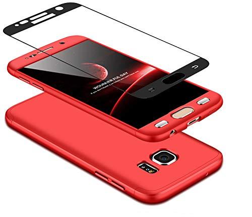 Coque Samsung Galaxy S7 360 degrés rouge Protection Matte Ultra Slim Cover PC Hard Case Protection du corps Couverture antidéflagrante 360 ° Couverture complète 3 en 1 DECHYI case cover rouge