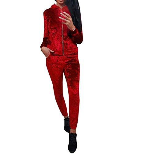 Damen Zerdrückt Samt Lounge-Anzug Sport Anzug Lässige Swetshirt + Hosen Frauen Trainingsanzug Set,FRIENDGG Herbst Outfits Mode Beiläufaige lange Hülse feste reizvolle lose Kurze Sets (Rot, L)